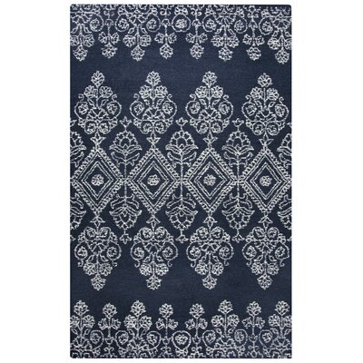Avoca Hand-Tufted Ivory/Navy Area Rug Rug Size: Runner 26 x 8
