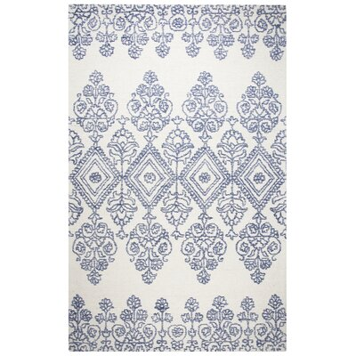 Avoca Hand-Tufted Blue/Ivory Area Rug Rug Size: 5 x 8