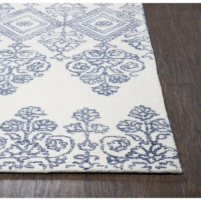 Avoca Hand-Tufted Blue/Ivory Area Rug Rug Size: 3 x 5