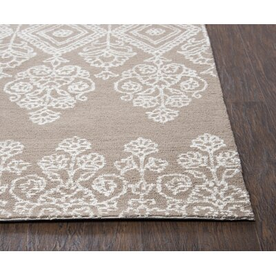 Avoca Hand-Tufted Beige/White Area Rug Rug Size: Runner 26 x 8