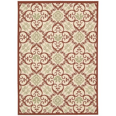 Carleton Ivory & Rust Indoor/Outdoor Area Rug Rug Size: 93 x 129