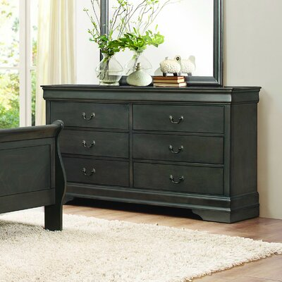 Waynesburg 6 Drawer Standard Dresser Finish: Black