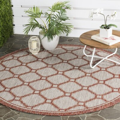 Rockbridge Red/Beige Indoor/Outdoor Area Rug Rug Size: Round 67