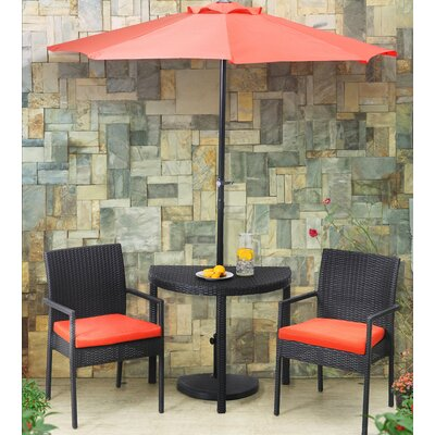 Sibley Balcony 4 Piece Bistro Set with Cushions Cushion Color: Coral