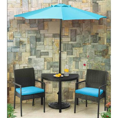 Beeston Balcony 4 Piece Bistro Set with Cushions Cushion Color: Turquoise