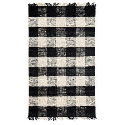 Sauget Hand-Woven Black/Ivory Area Rug Rug Size: 8 x 10