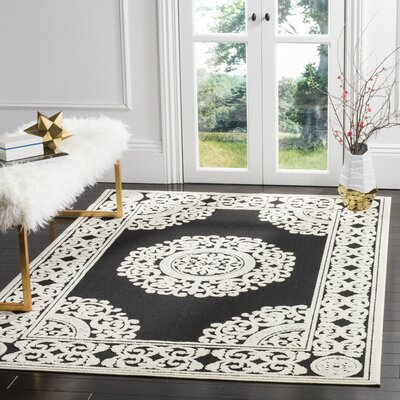 Prompton Black/Cream Area Rug Rug Size: 33 x 53