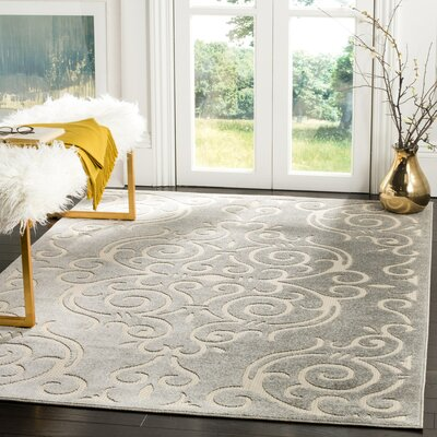 Prussia Gray/Cream Area Rug Rug Size: 33 x 53