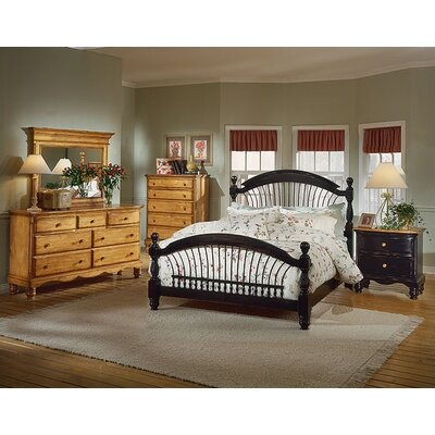 Baptist 5 Piece Black & Pine Bedroom Set