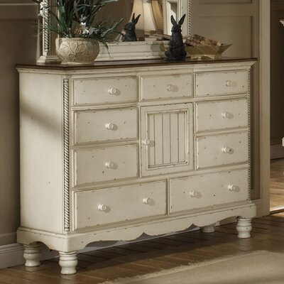 Baptist Mule 9 Drawer Combo Dresser Color: Antique White