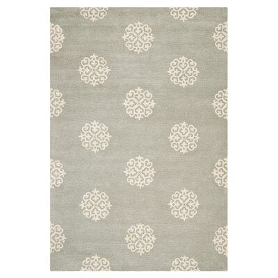 Backstrom Hand-Tufted Gray/Ivory Area Rug Rug Size: Round 8