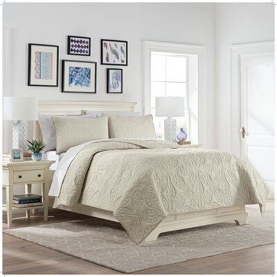 Elisha 3 Piece Reversible Quilt Set Color: Ivory, Size: Queen