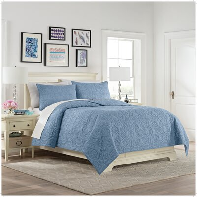 Elisha 3 Piece Reversible Quilt Set Color: Indigo, Size: Queen