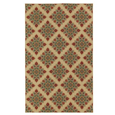 Gabriel Beige/Green/Red Area Rug Rug Size: Rectangle 5 x 8