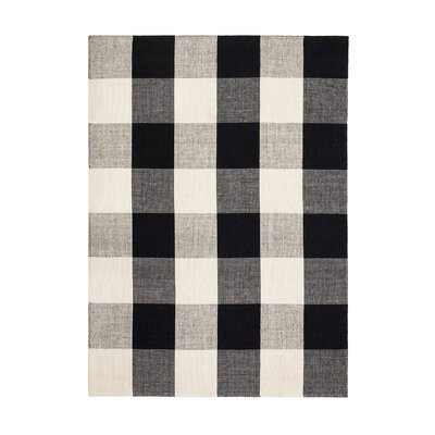 Gage Hand-Woven Black/Ivory Area Rug Rug Size: Rectangle 5 x 8