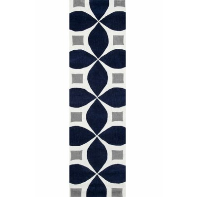 Roush Handmade Navy Blue/Gray Area Rug Rug Size: Runner 26 x 8