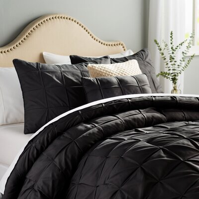 Kelly 5 Piece Comforter Set Color: Black, Size: Queen