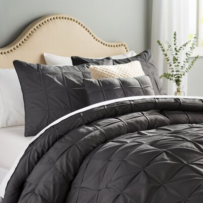Kelly 5 Piece Comforter Set Color: Gray, Size: Queen