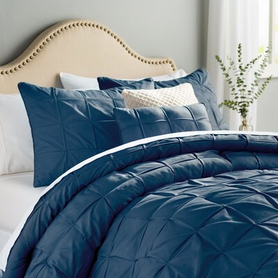 Kelly 5 Piece Comforter Set Color: Navy, Size: King