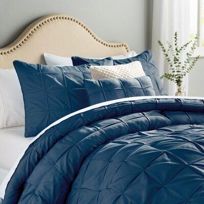 Kelly 5 Piece Comforter Set Color: Navy, Size: Queen