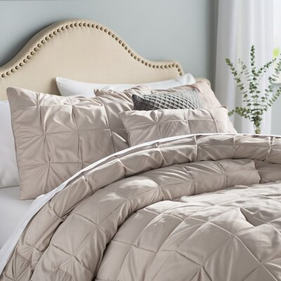 Kelly 5 Piece Comforter Set Color: Taupe, Size: Queen