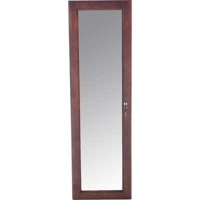 Flora Wall Mounted Jewelry Armoire with Mirror Color: Burgandy Cherry