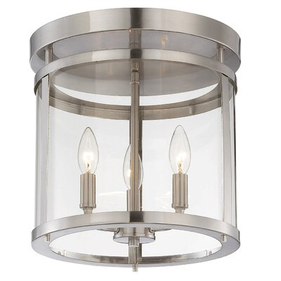 Aldergrove 3-Light Semi Flush Mount Finish: Satin Nickel