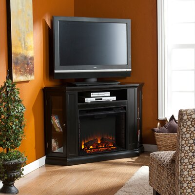 Dunminning Corner TV Stand with Fireplace Color: Black