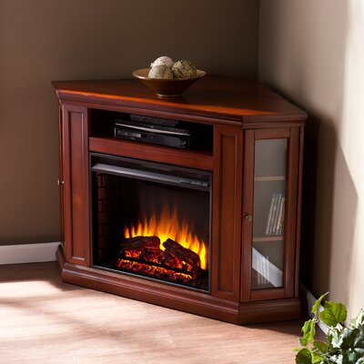 Dunminning Corner TV Stand with Fireplace Color: Brown Mahogany