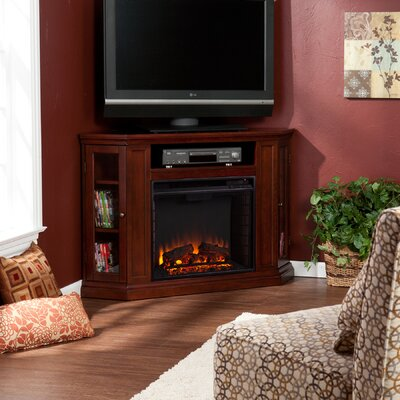 Dunminning Corner TV Stand with Fireplace Color: Cherry