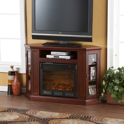 Dunminning Corner TV Stand with Fireplace Finish: Cherry