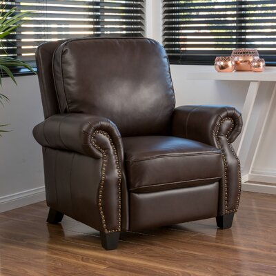 Mullins Faux Leather Recliner Upholstery: Dark Brown