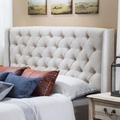 Riley Upholstered Wingback Headboard Upholstery: Eggshell