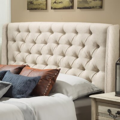 Riley Upholstered Wingback Headboard Upholstery: Beige