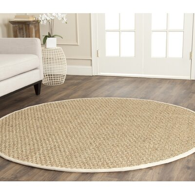 Catherine Hand-Woven Natural Area Rug Rug Size: Round 7