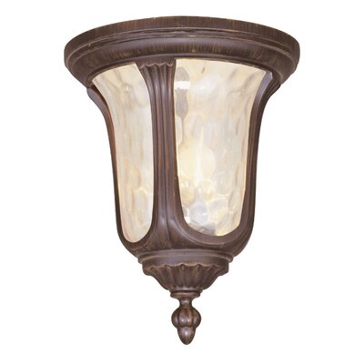 Gurnee Clear Water Glass 2-Light Flush Mount Finish: Imperial Bronze