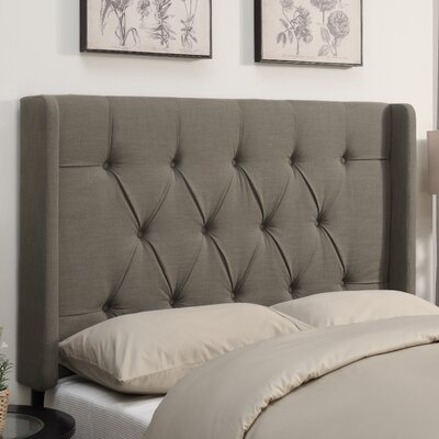 Gardenhire Upholstered Wingback Headboard Size: Queen, Upholstery: Taupe
