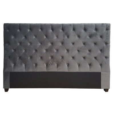 Gaskell Decorative Glam Upholstered Panel Headboard Size: King, Upholstery: Dark Grey