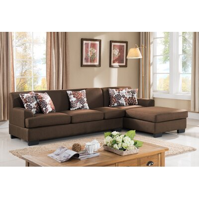 Geissler Reversible Chaise Sectional Upholstery: Brown