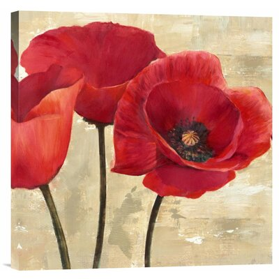 'Red Poppies II' Painting Print on Wrapped Canvas Size: 18