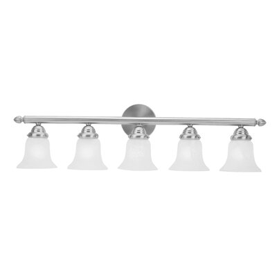 Alcott Hill Hardin 5-Light Vanity Light Finish: Brushed nickel