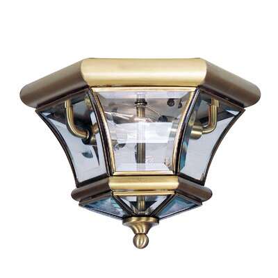 Gustavson 2-Light Flush Mount Size: 7 H x 10.5 W x 10.5 D, Finish: Antique Brass