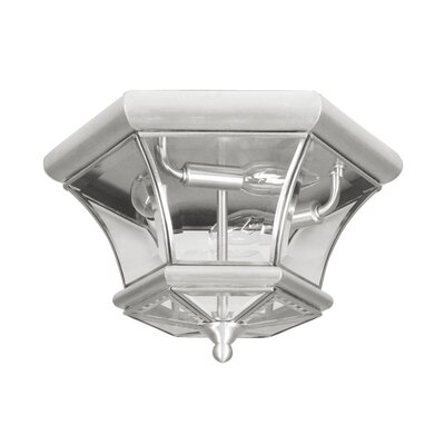 Gustavson 2-Light Flush Mount Size: 7.75 H x 12.5 W x 12.5 D, Finish: Brushed Nickel