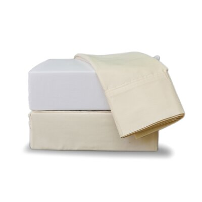 Gettinger 300 Thread Count 100% Cotton Percale Fitted Sheet Size: Split California King, Color: Ecru