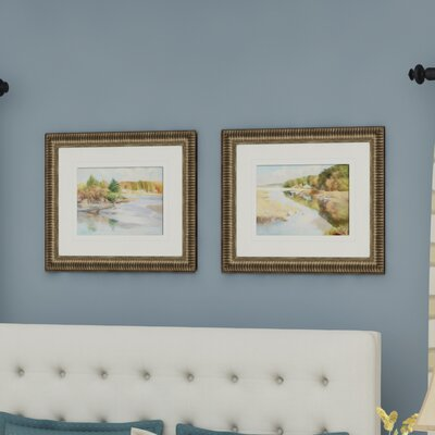'Landscape Annisquam Cover' 2 Piece Framed Painting Print Set