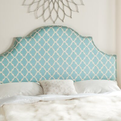 Caswell Upholstered Panel Headboard Blue and White Size: Queen, Color: Blue and White, Nailhead Finish: Silver