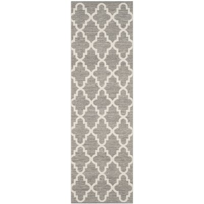 Valley Hand-Woven Gray/Ivory Area Rug Rug Size: Runner 23 x 9