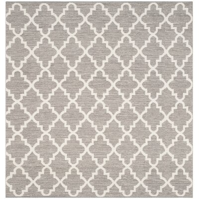 Valley Hand-Woven Gray/Ivory Area Rug Rug Size: Square 6