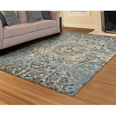 Mooney Hand-Tufted Beige/Blue Area Rug