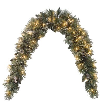 Pine Pre-Lit Mantle Garland with Clear Lights